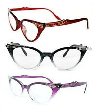 RETRO CAT EYE RHINESTONE CLEAR LENS GLASSES GRADIENT FRAME FASHION EYEGLASSES BN