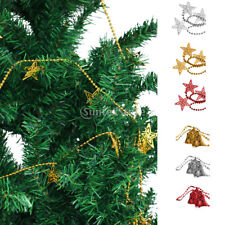 Christmas Star Bell Xmas Tree Decorations Ornament Ball Bead Chain Hanging