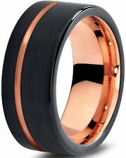 Tungsten Wedding Band Ring 9mm for Men Women Black & 18K Rose Gold Plated Pipe..
