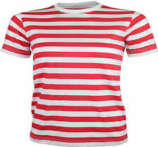 Womens Red & White Striped T-Shirt Ladies Fancy Dress Outfit