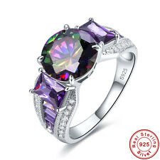 Free Jewelry Box Rainbow Topaz & Amethyst 925 Sterling Silver Ring Size 6 7 8 9