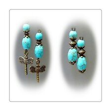 Earrings Turquoise bronze petite drop, choose style and clip on or pierced