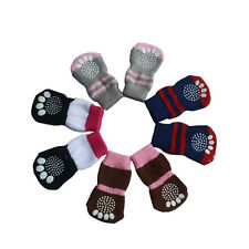 4Pcs Pet Dog Cat Puppy Anti-slip Cotton Knit Weave Soft Warm Socks Skid Bottom