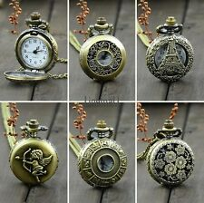 LM Retro Antique Vintage Bronze Tone Pocket Chain Quartz Pendant Watch Necklace