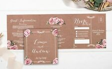 Vintage Floral Framed Landscape Wedding Invitation Sample