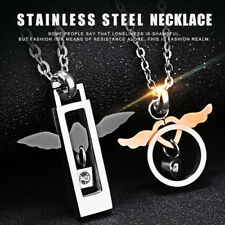 Stainless Steel Angel Wings Love His and Hers Couple CZ Charm Pendant Necklace