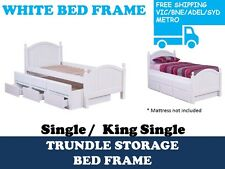 WHITE Single Kingsingle Bed Frame With Trundle Storage Drawers Timber Guest Kid