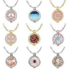 New DIY 35mm Women Crystal My Coins Locket Pendant Necklace Jewelry Chain Gift