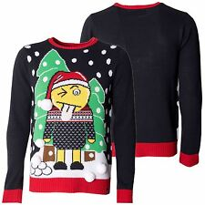 Mens Christmas Sweater Novelty Knitted Navy Xmas Jumpers Sizes S -XXL