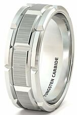 Mens Wedding Band 8mm Classic Tungsten Ring Brushed Sections Comfort Fit