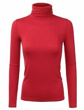 Doublju Womens Long Sleeve Jersey Turtleneck T-Shirt Top With Shirring Detail