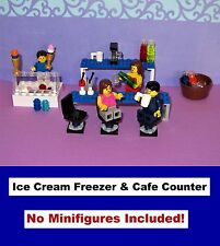 Custom LEGO Ice Cream Freezer Counter Cafe Bar Restaurant Pub Coffee Maker Cups