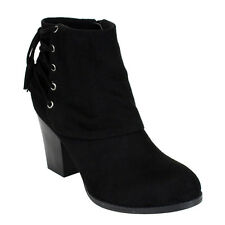 Refresh AE61 Women's Lace Up With Tassel Inside Zip Stacked Heel Ankle Booties