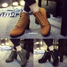 Womens Fashion High Heel Lace Up Ankle Boots Ladies Zipper Buckle Platform EA9