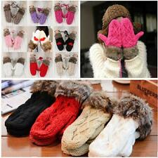 Fashion Women's Winter Warm Knit Gloves Warmer Soft Cute Mittens Finger Gloves