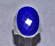 Faceted Lapis 13.8ct Handcrafted Sterling Silver Textured Ring