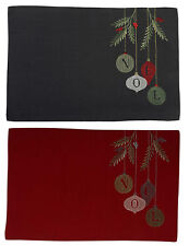 Christmas Pack of 4 Noel Placemats Embroidered Baubles & Mistletoe Table Mats