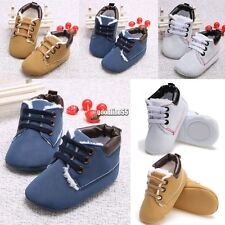 New Toddler First Walkers Lace-up Baby Prewalker Sole Sneakers Crib Shoes EA9