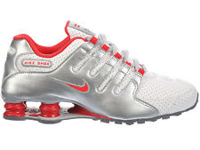 NEW WOMENS NIKE SHOX NZ RUNNING SHOES TRAINERS WHITE / EMBER GLOW / METALLIC SIL