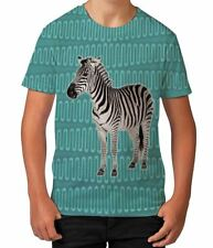 Zebra on Green African Pattern Summer Animal Boys Kids Child T Shirt Ages 3-12