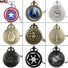 Vintage Steampunk Retro Bronze Pocket Watch Quartz Pendant Necklace Figure Gift