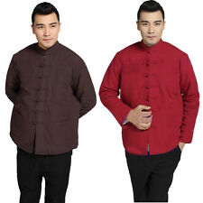 Men Cotton Lining Chinese Tang Suit Jacket Retro Long Sleeve Warm Outwear Coat