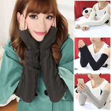 Fashion Men Women Knitted Cotton Arm Warmers Winter Fingerless Gloves New