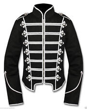 Men Silver Black Handmade Military Marching Band Drummer Jacket New Style