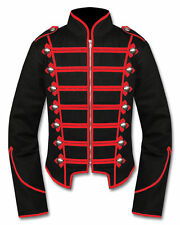 Men Black/Red Handmade Military Marching Band Drummer Jacket New Style