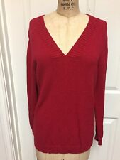 CHICOS Womens Size 1 Medium M SOFT Red Knit V-Neck Cotton Nylon Holiday Sweater