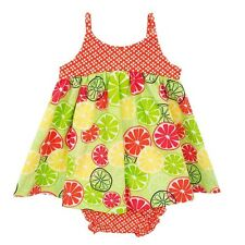 New RARE TOO Girl's Dress Size 12 months LIME Print Sleeveless Cotton 2 pc Set