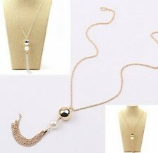 Fashion Women's Charms Pearls Pendant Long Sweater Chain Tassel Necklace Jewelry