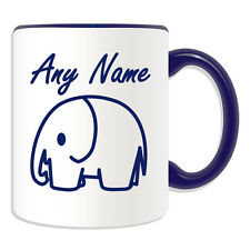 Personalised Gift Simple Drawing Elephant Mug Money Box Cup Animal Design Name