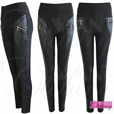 LADIES ZIP BLACK QUILTED PU LEGGINGS WOMENS JEGGINGS STRETCH TROUSERS PANTS 8-14