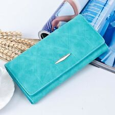 Women Purse Solid Hasp Coin Bag Long Card Holders Handbag Bifold Clutch Wallets