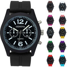 Womens Mens Geneva Silicone Analog Quartz Jelly Leather Strap Sport Wrist Watch