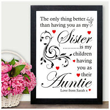SISTER AUNTIE Christmas Gift Birthday MUM NANNY Personalised Word Art Present A4