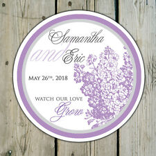 Lilacs - Round Custom Favor Stickers Labels - Wedding Shower Personalized