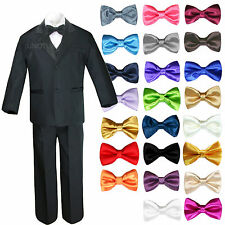 6pc Teen Kids Boys Black Formal Wedding Party Suits Tuxedo Extra Bow Tie 4T-20