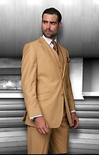 BRAND NEW CAMEL MENS 3PC 2 BUTTON SUIT,VESTED & PLEATED PANTS