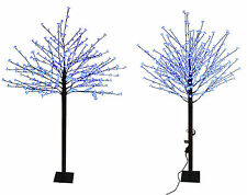 Cherry Blossom Christmas Tree Pre Lit Blue LED Indoor Outdoor Xmas Home 7ft 8ft