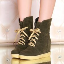 Womens Suede Lace Up Hidden High Wedge Heels Ankle Platform Winter Boots Shoes