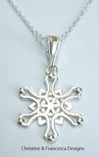 925 Sterling Silver SNOWFLAKE Frozen Pendant Chain Necklace Christmas #2 + Box