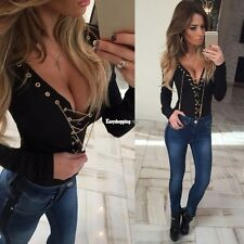 Women Fashion Sexy Deep V Neck Long Sleeve Solid Slim Lace-up T-Shits Top ES9P