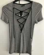 Urban Outfitters Black White Striped Plunging Lace Up Tshirt Top BNWT UK XS 6-8
