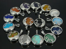 Natural Gemstone Round Silver Plated Stars and  Moon Pendant Charm Beads Healing