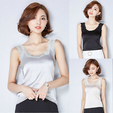 Women Vest Plain Imitated Silk Lace Sleeveless Slim Tee Shirt Camisole Tank Top