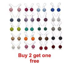 TOP QUALITY 10mm DISCO BALL DROP EARRINGS / CRYSTAL CLAY