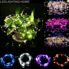 100 LED Battery Operated Copper Silver Wire String Fairy Lights Xmas Party 10M
