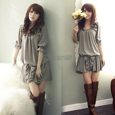 Womens 3/4 Sleeves Chiffon Ruffle Bowknot Mini Dress Demitoilet Clubwear Good